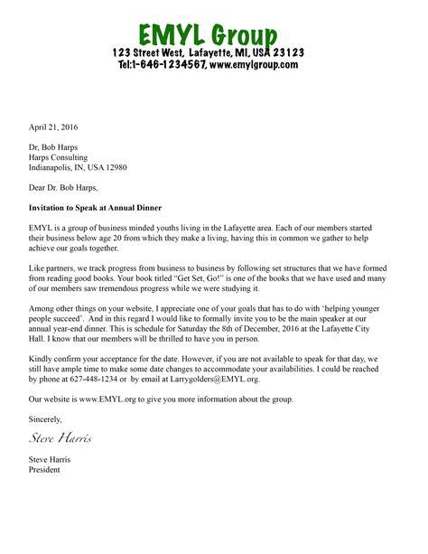 guest speaker invitation letter sample invitation letter