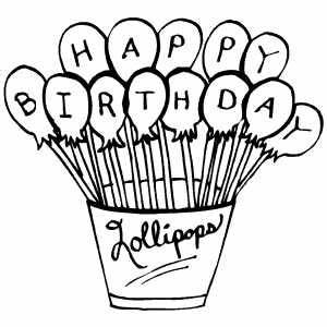 free printable happy birthday coloring pages - happy birthday lollipops coloring page