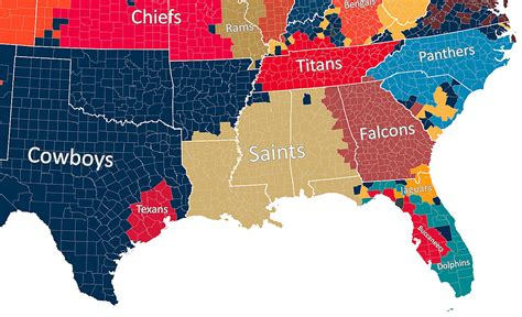 map shows  nfl team   county roots