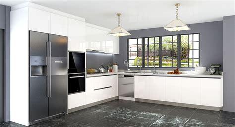 oppein  shaped white laminate kitchen cabinet op