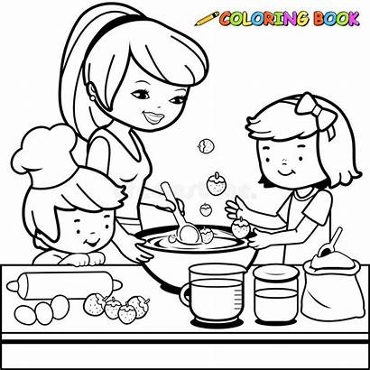 Mother Cooking Coloring Kitchen Children Outline Helping