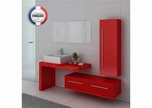 Meuble Salle De Bain Sous Vasque : meuble de salle de bain rouge coquelicot meuble sous ~ Nature-et-papiers.com Idées de Décoration
