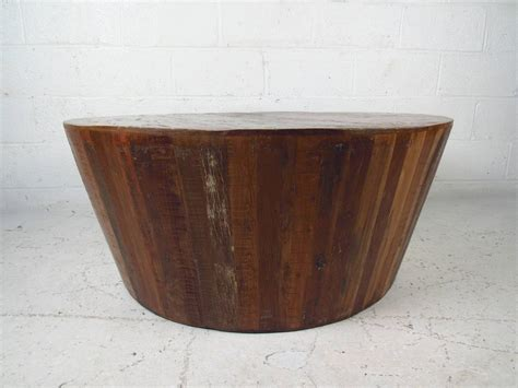 drum style coffee table distressed drum coffee table at 1stdibs