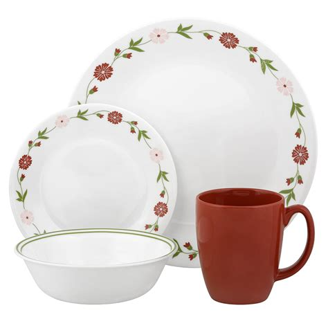 dinnerware amazon corelle piece sets dinner dishes livingware service dining pink plate spring kitchen vitrelle floral inch bowl