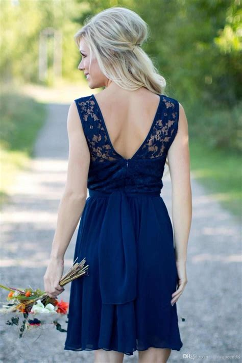 navy blue country style bridesmaid dresses short