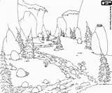 Colorare Paisaje Bosque Montaña Paisatge Muntanya Colorearjunior Fluye Wasserlandschaften Ruscello Cascata Prehistoria Floresta Kolorowanka Montañas Florestas sketch template