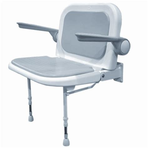 akw wall mounted fold up wide shower chair padded seat
