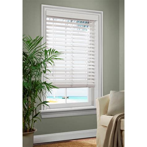 white wooden blinds shop allen roth 2 5 in white faux wood room darkening