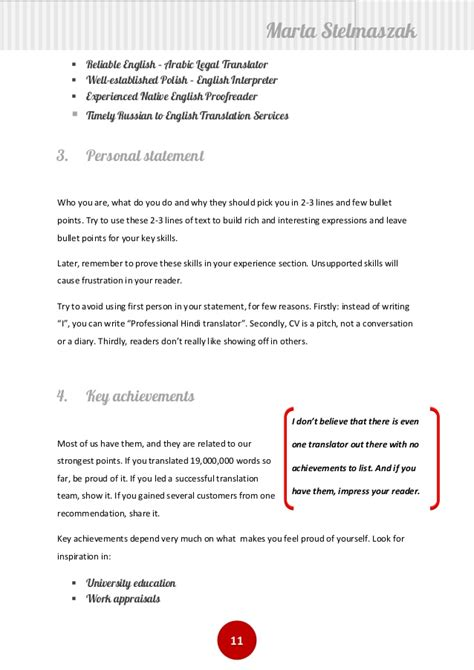 how to write a translator s cv