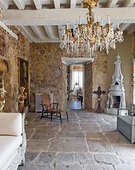 Rustic Stone Floor in Living Room