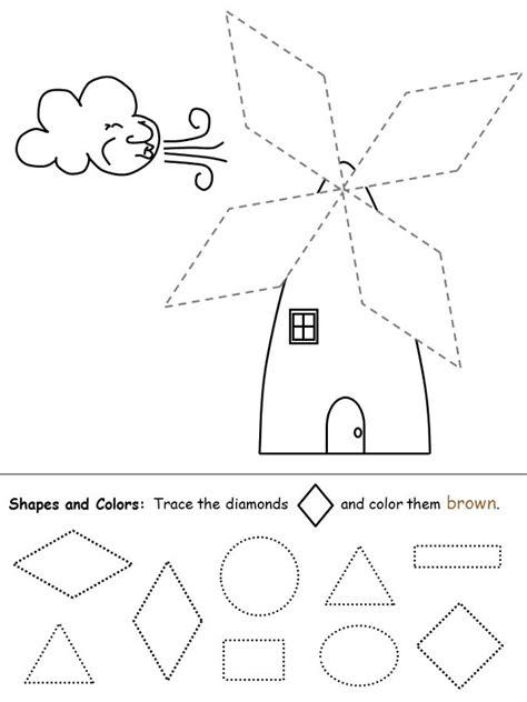 color  shapes worksheet diamonds  coloring sheets