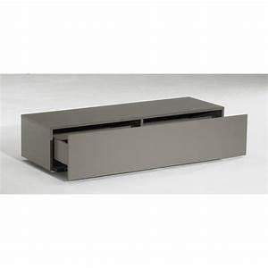 Meuble Bas A Tiroir : meuble tv bas delta 1 tiroir taupe mat 120cm achat ~ Edinachiropracticcenter.com Idées de Décoration