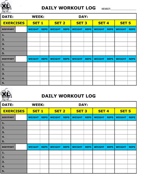 weight training log book printable training log xl fitness and lifestyle