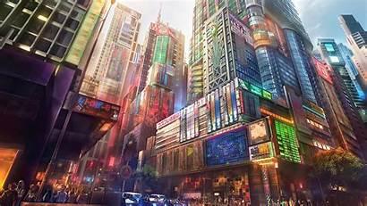 Futuristic Digital Japan Artwork Cityscapes Wallpapers Allwallpaper