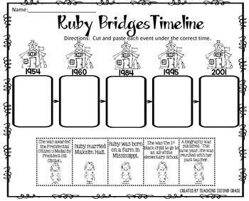 ruby bridges timeline cut and paste freebie by teaching