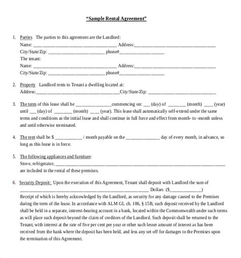 Rental Agreement Template Sample Vlashed