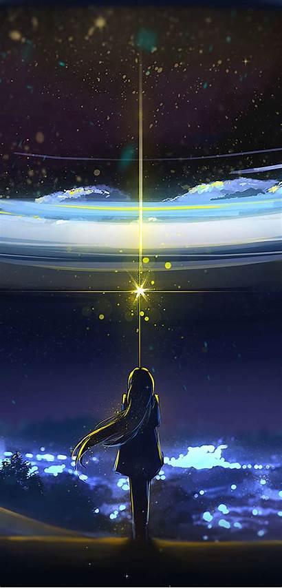 Anime Night Magic Silhouette Stars Weathering Bokeh