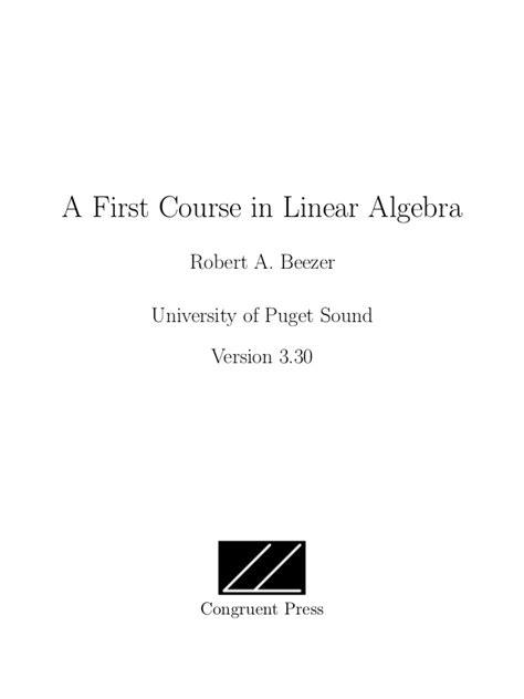 A First Course In Linear Algebra Robert A Beezer