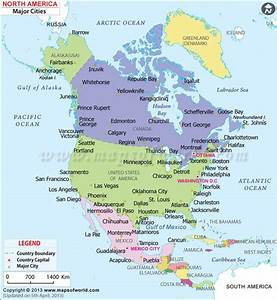Detailed Map of major cities in North America | Maps ...