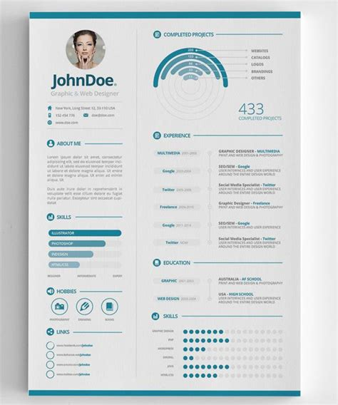 3 clean infographic resume misc