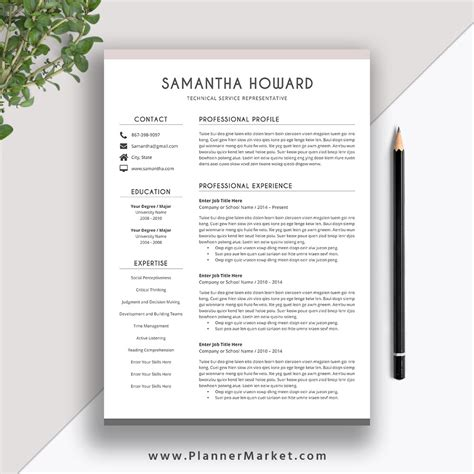 clean resume template cover letter ms word cv template