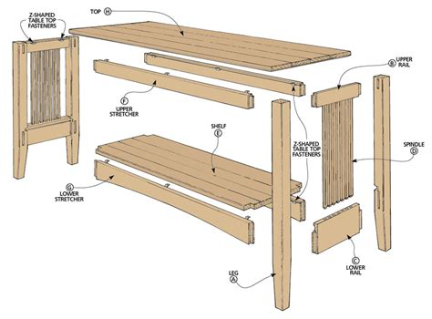 oak sofa table woodworking project woodsmith plans