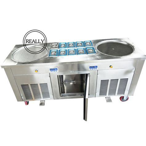 ice pan cream machine maker freon fry double fried r410a environmental flat round appliances aliexpress