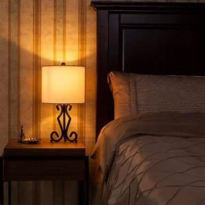 Bedroom, Bedside, Table, Lamp, Modern, Reading, Home, Nightstand, Fabric, Drum, Desk, Light, 691220178299
