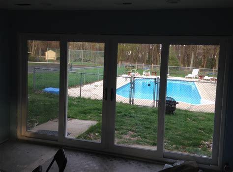 installing  header   ft sliding glass door living