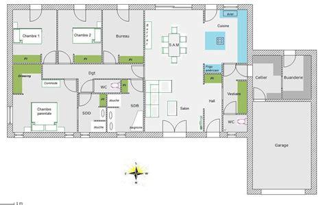 plan 3 chambres plan de maison rectangulaire plain pied 150m2