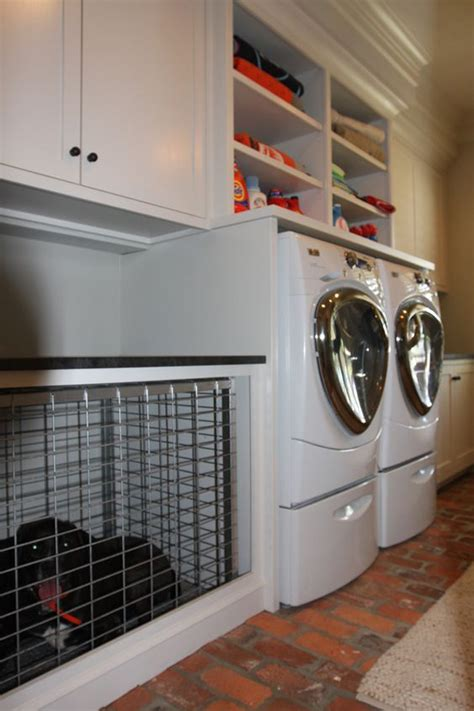 built  dog cage  laundry room
