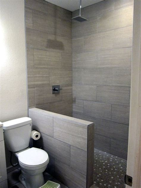 diy basement bathroom finish modern gray tile floor