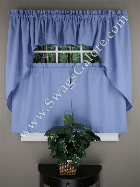 Blue Kitchen Valance by Ribcord Tiers Swags Valances Blue Lorraine Sheer