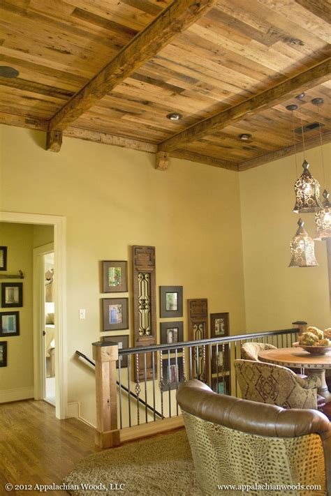 antique oak ceiling hand hewn beams lake house