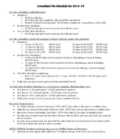 fee schedule template  word  documents