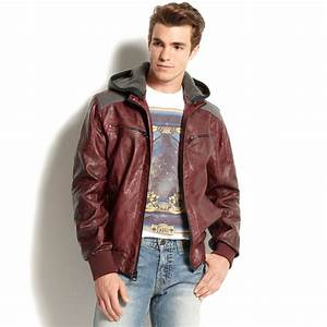 Guess Hooded Faux Leather Bomber Jacket in Red for Men | Lyst