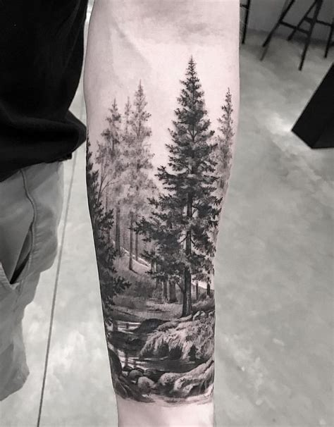 Awesome Forest Scenery For Sleeve Tattoo