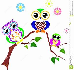 Cute Colorful Owl On Branch