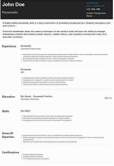 Resume Templates For Paramedics by Resume For Paramedic Https Hipcv Abc R Paramedic
