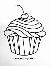 Cupcake Drawing Cupcakes Draw Valentine Cake Cute Drawings Cream Coloring Pages Ice Line Cup Cartoon Birthday Simple Easy Clipart Cliparts sketch template