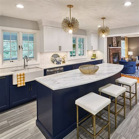 navy  blue kitchen  brass accents  marble
