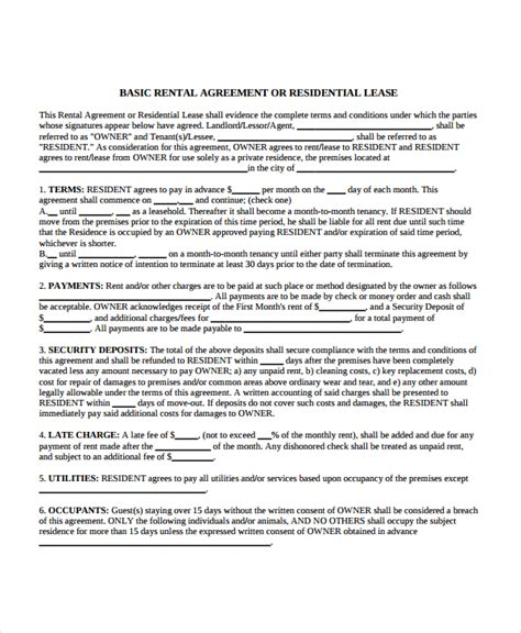 apartment lease sle apartment lease agreement 7 documents in pdf word