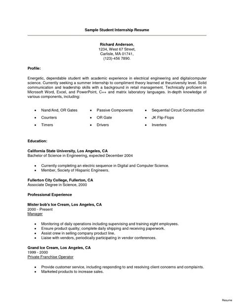 Resume For Internship by Summer Internship Resume Exles Vvengelbert Nl
