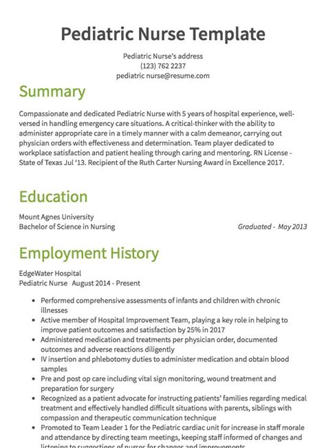 Pediatric Resume by Resume Sles 125 Free Exle Resumes Formats