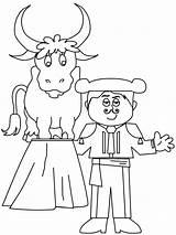 Coloring Pages Matador Bull Spain Spanish Printable Ferdinand Colouring Bullfighting Template Crafts Disabled Sheets Sketch Bulls Books Kruseduller Spanien Popular sketch template