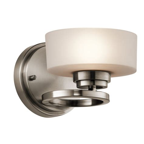 modern deco style pewter wall light with opal glass shade