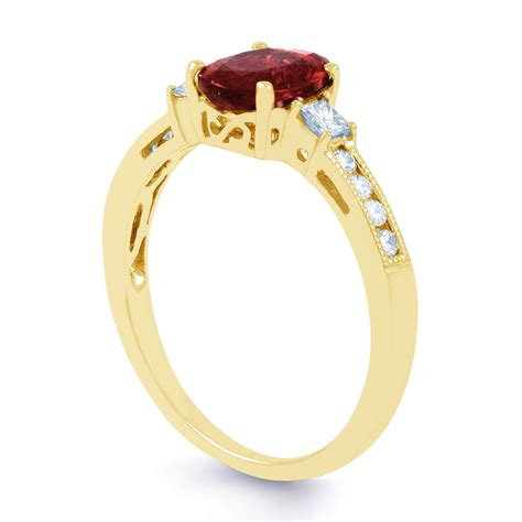 arya ruby and diamond engagement ring in 18ct gold milgrain shank diamond boutique