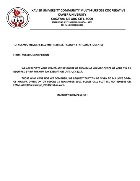 xavier university tax exemption letter
