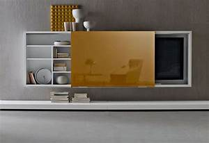Wall mounted tv cabinet with doors in the kitchen