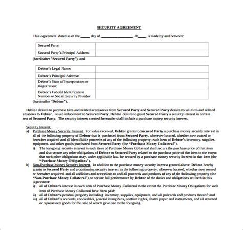 sample  security agreement templates sample templates